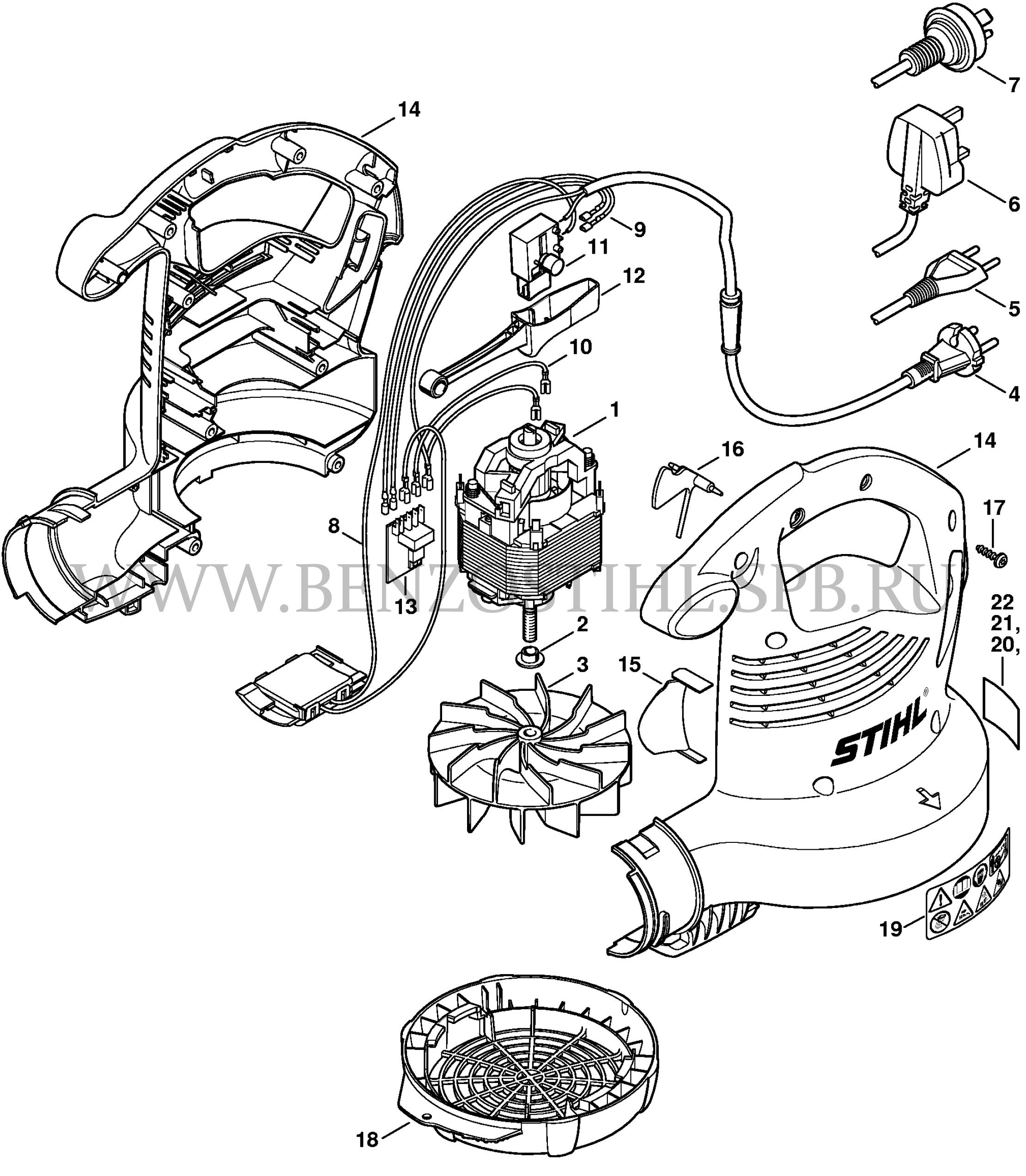 she 81: Электродвигатель - Корпус вентилятора